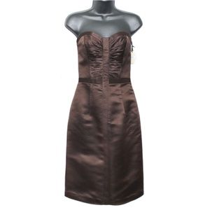 NWT Milly Espresso Brown Strapless Silk Dress